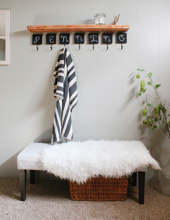 entryway bench with chalkboard hooks