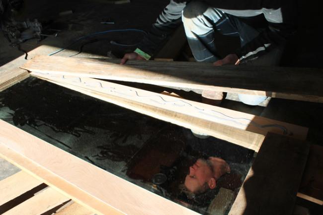 DIY rustic wood frame mirror