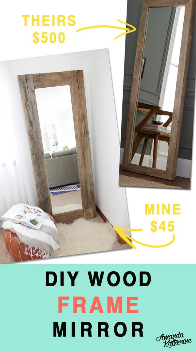 DIY wood frame mirror