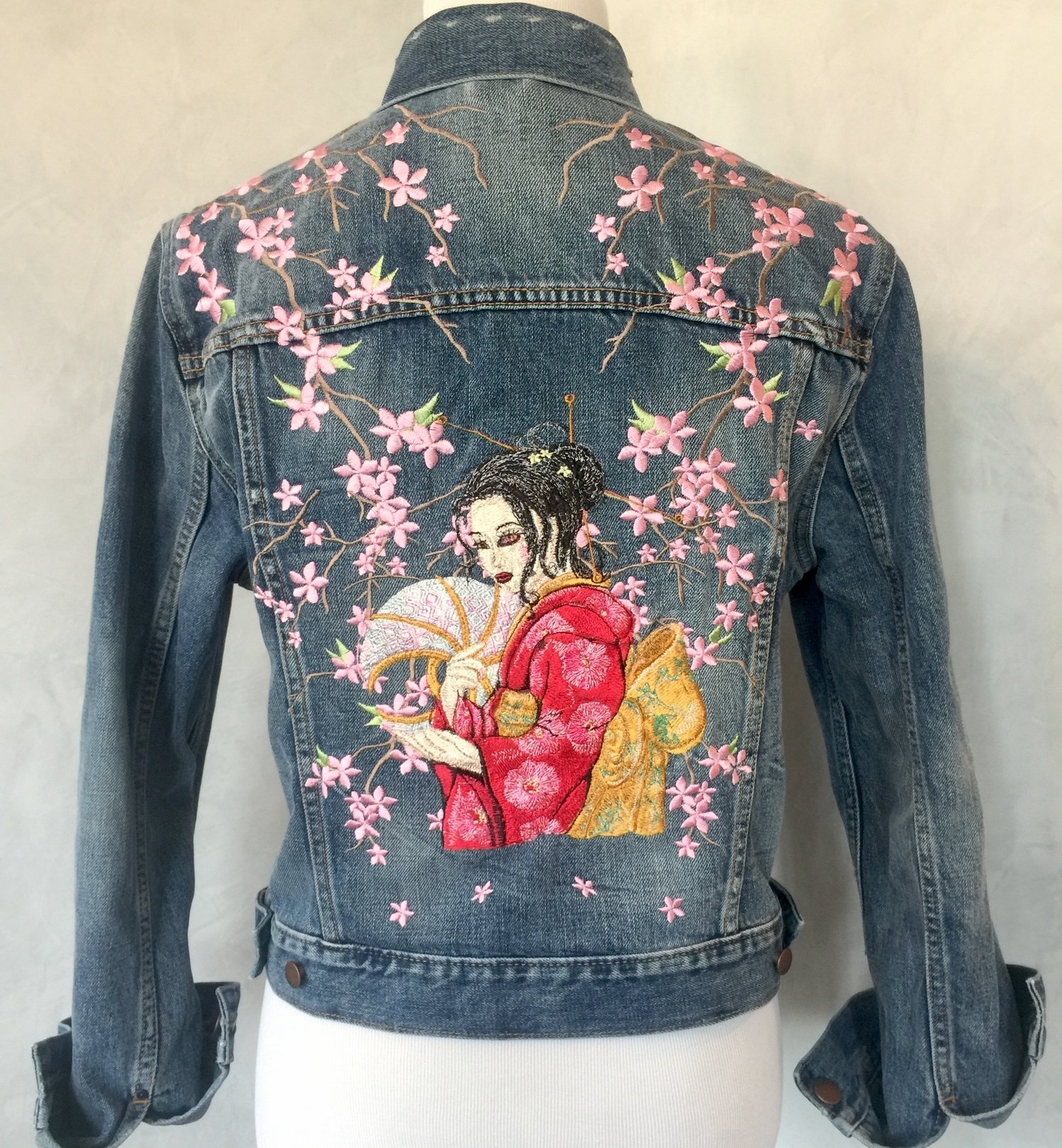 84bee24709 Cherry Blossom Geisha Embroidered Denim Jacket — The Hanky Shoppe