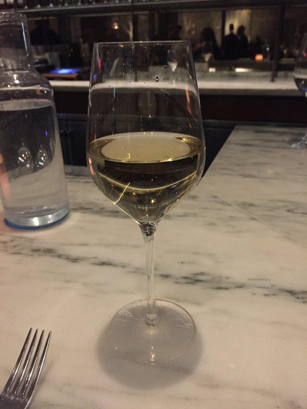 A glass of Fiano di Avellino at Flora Bar