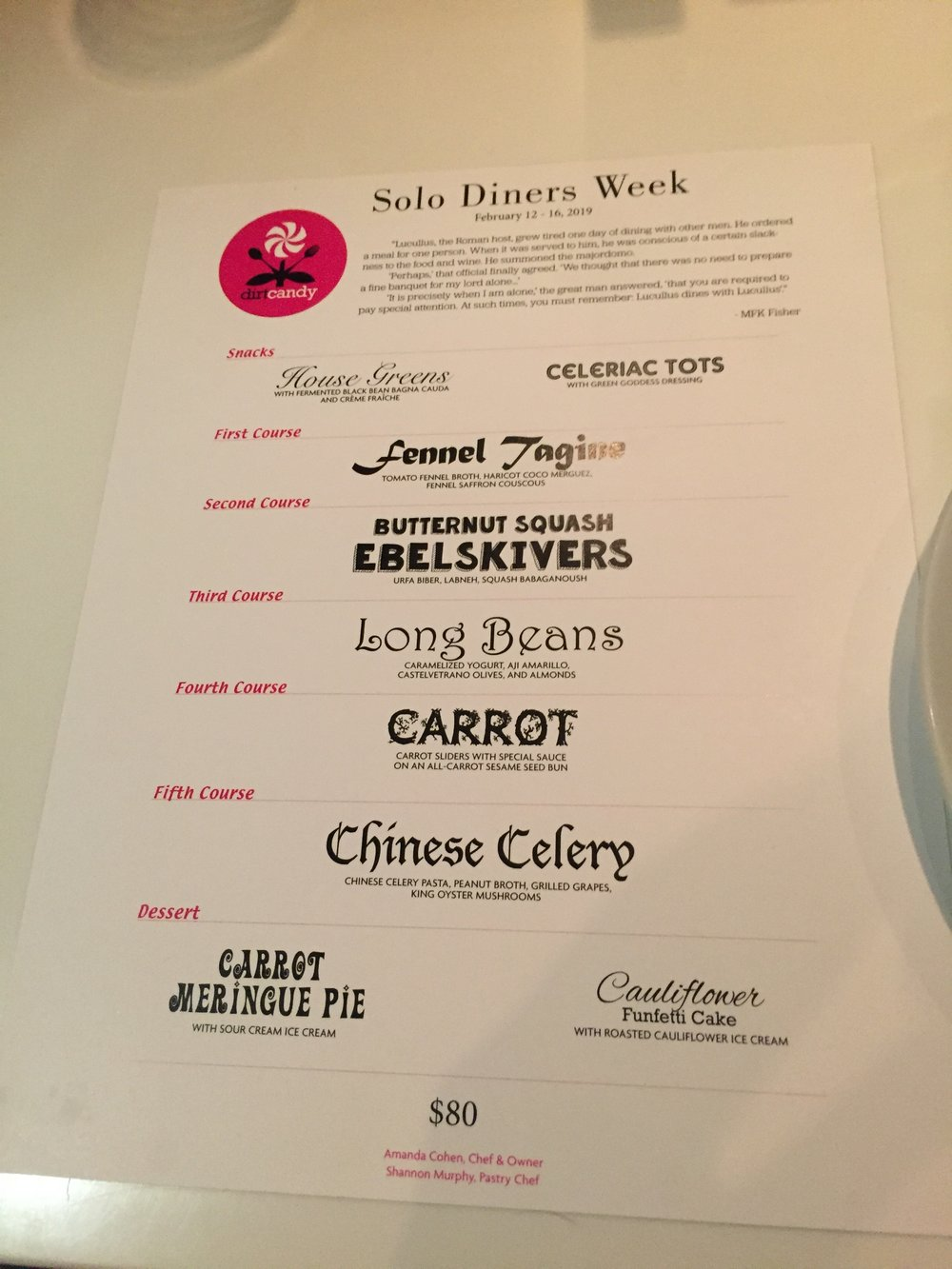 The menu for Solo Diner's Week