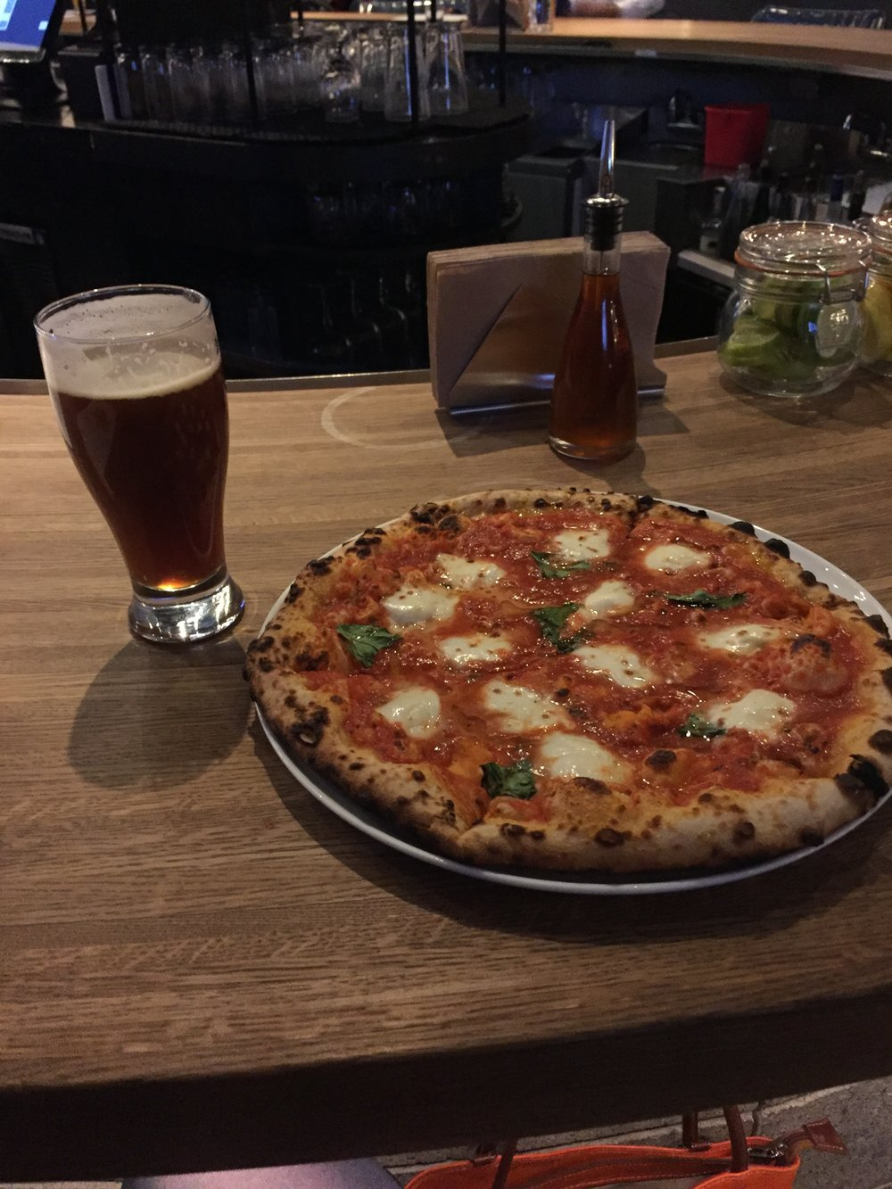 My beer and my pizza!