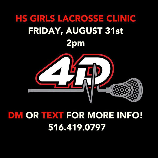 Reminder! TOMORROW High School Girl's Lax Clinic! Cost: FREE Time: 2-4pm • Don't miss this amazing opportunity to get better!