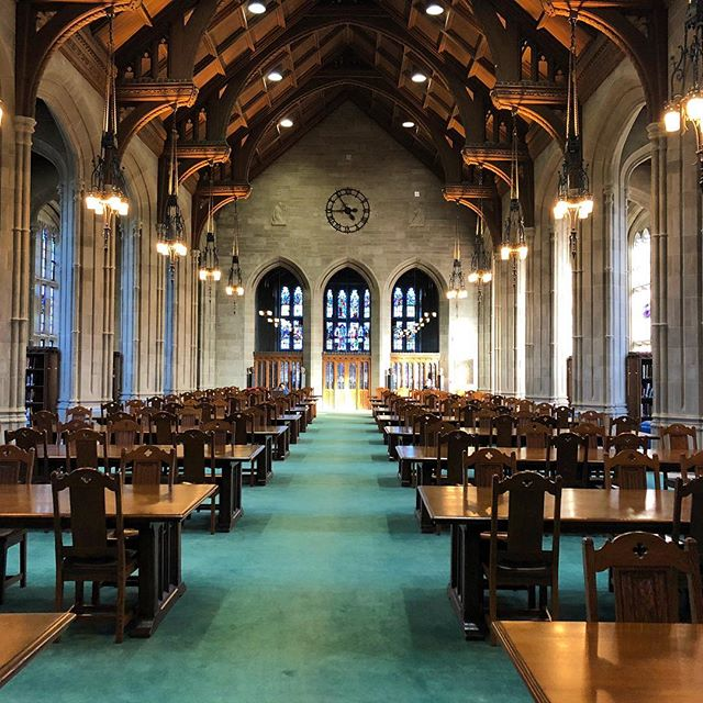 What an amazing library. I could spend hours in here. #libraryporn #bostoncollege #stainedglass