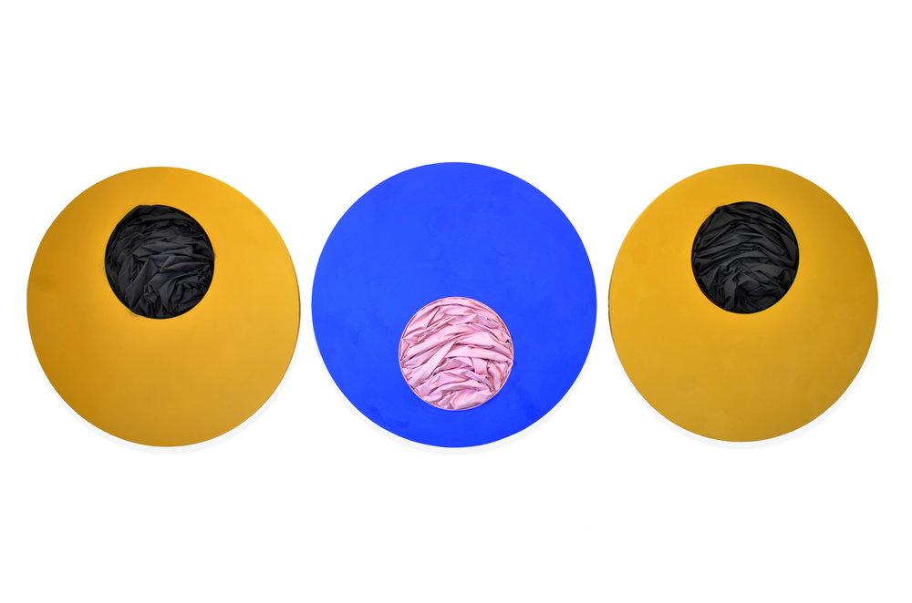 Triptych of Maestà  - 2016  Acrylic pigment on canvas  ⌀ 150 cm (each)