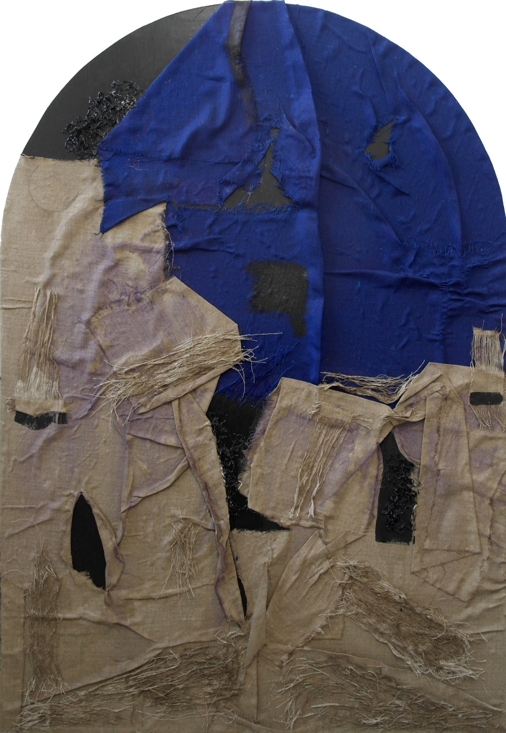 Untitled After Piero della Francesca  - 2016  Oil paint, burlap, rope, PVA, threads, linen canvas applied on board  167 x 116 cm