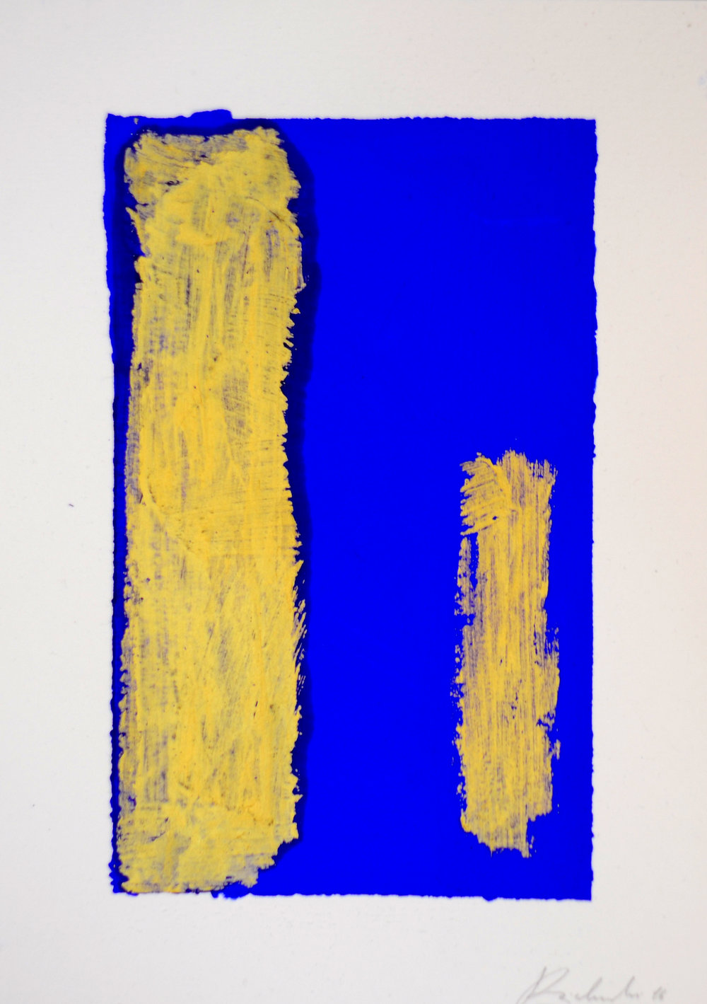 Drawing for an Annunciation  - 2016  Acrylic pigment and oil stick on paper  21 x 14,8 cm  Private Collection