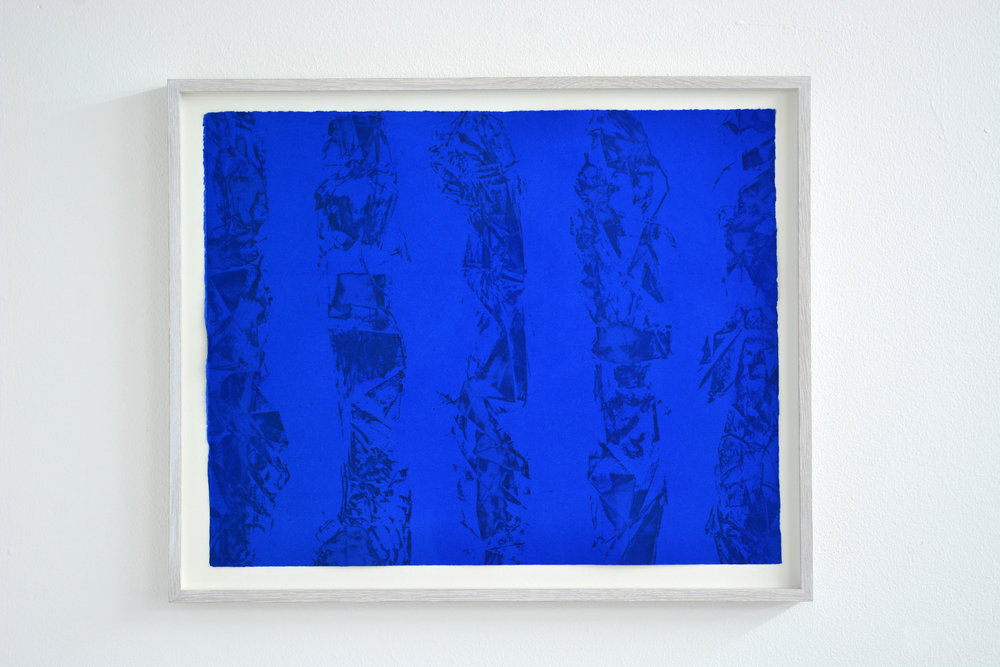 Flowing (Ultramarine)  - 2018  Etching on paper  Variable Edition 1/4  43,5 x 53,5 cm (framed)