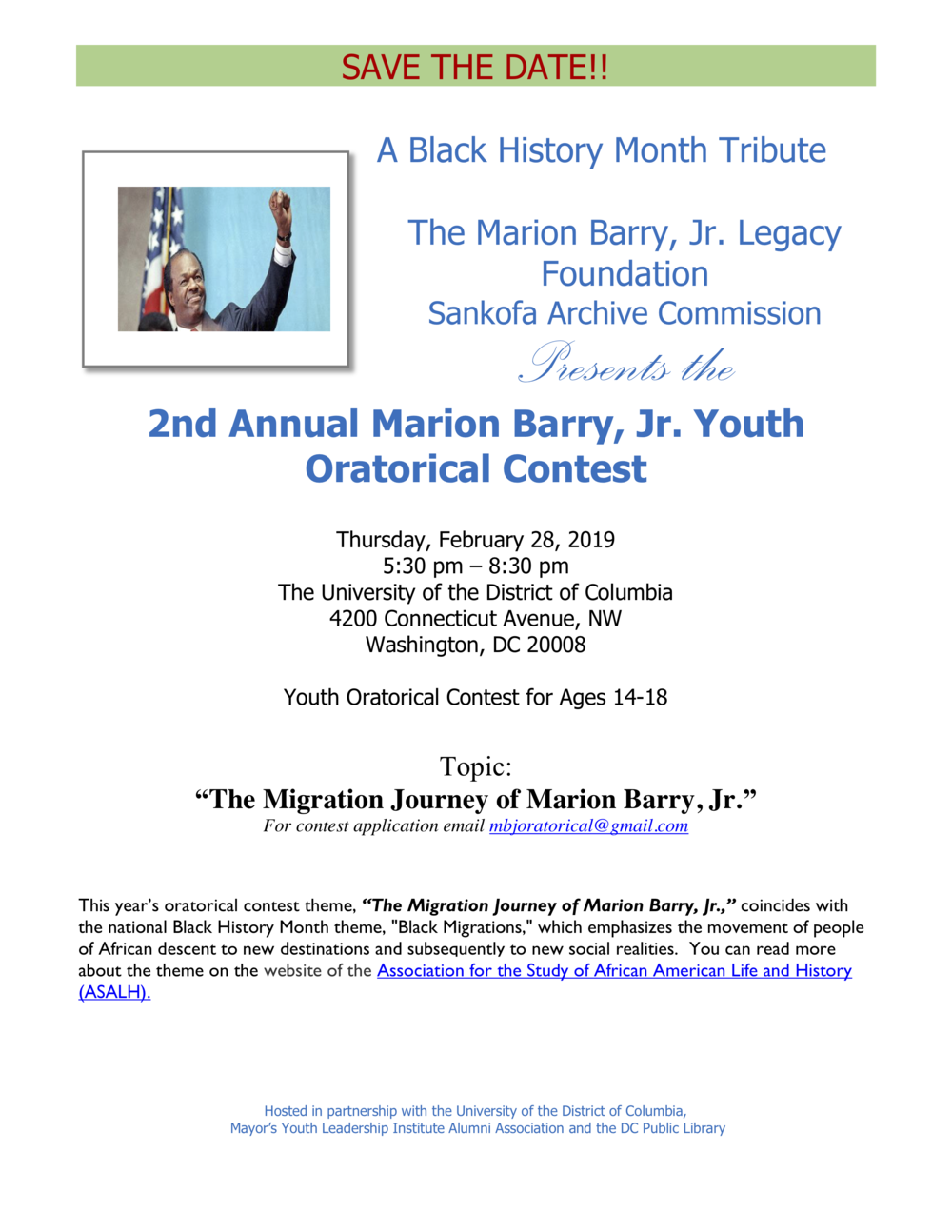 Save the Date flier - MBJr. Youth Oratorical Contest - A Black History Month Tribute 2019.png