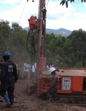 Drilling for water at the Carmelite Mission in Rwanda in Africa