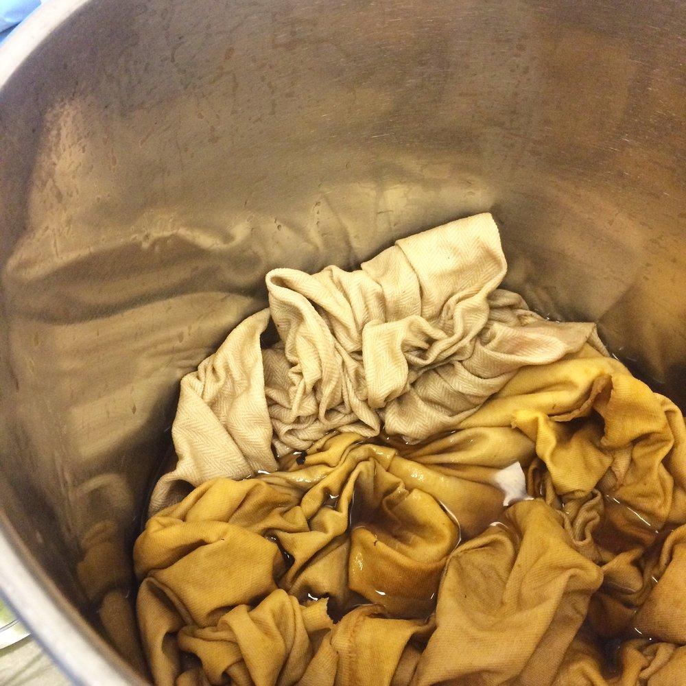 Onion skin natural dye experimentation