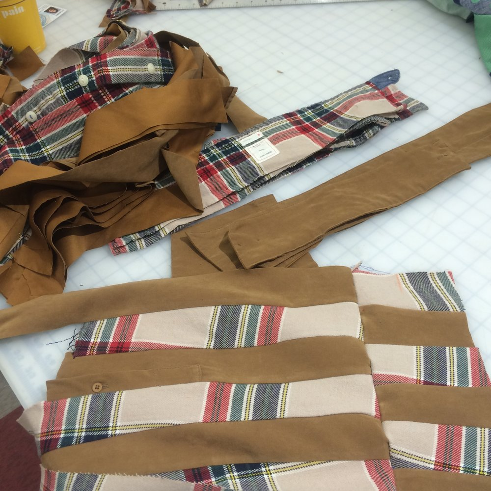 Lining quilted from reclaimed men's button downs