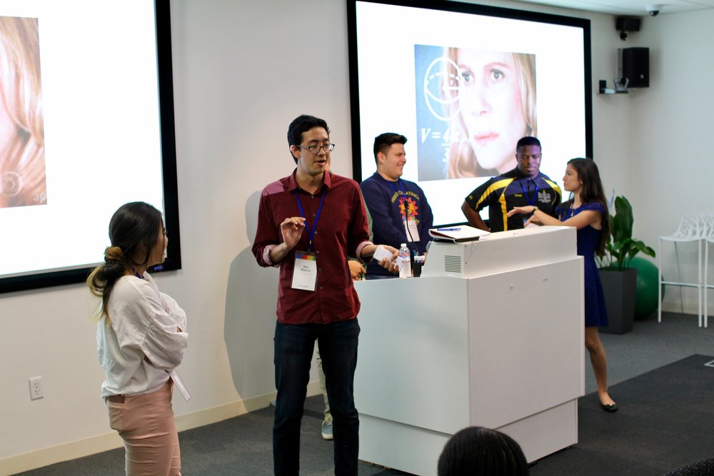 """My Immersion Learning Group (me, Ben Blanco, Carlos Guerrero, Samuel Vilchez Santiago, Israel Ibidapo, Andrea Sanin) participated in a game of """"Slide Roulette"""" where we had to present a deck we've never seen before."""