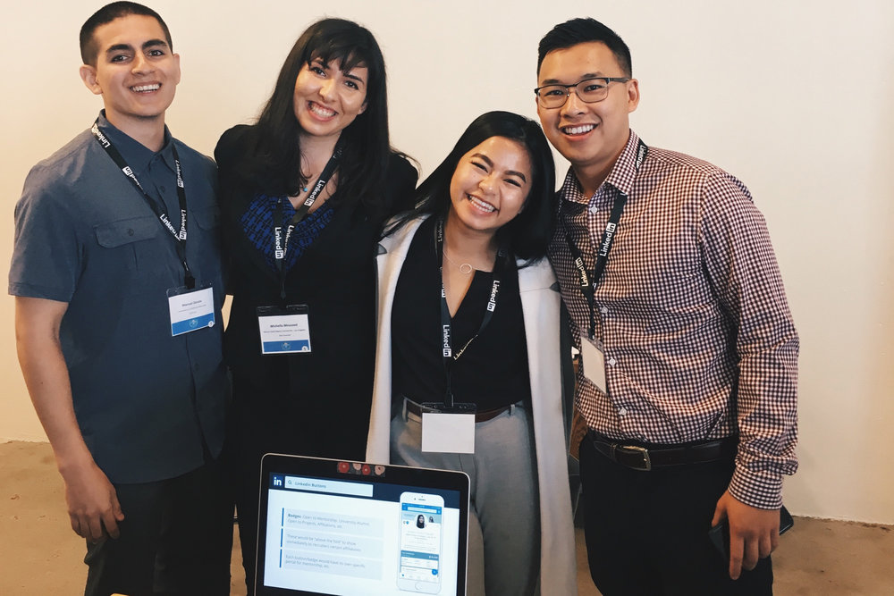 "My Accelerate U team (Manuel Zavala, Michella Mousaed, me, and Peter Nguyen) won first place for ""Most Popular"" with our product feature recommendations."