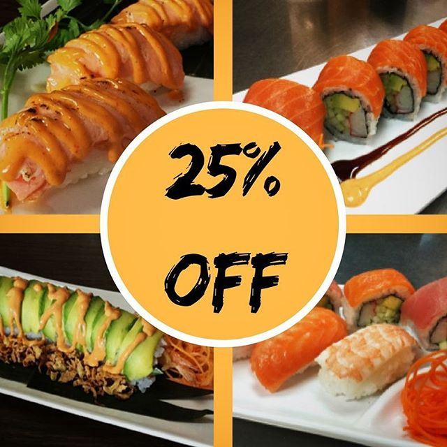 How does 25% off sushi sound? 🍣 - Until the end of January, Order 2 Entrees and Get Sushi 25% Off! - Offer is valid for Dine-in, Take-out, and Delivery! - ❤Taste of Thai