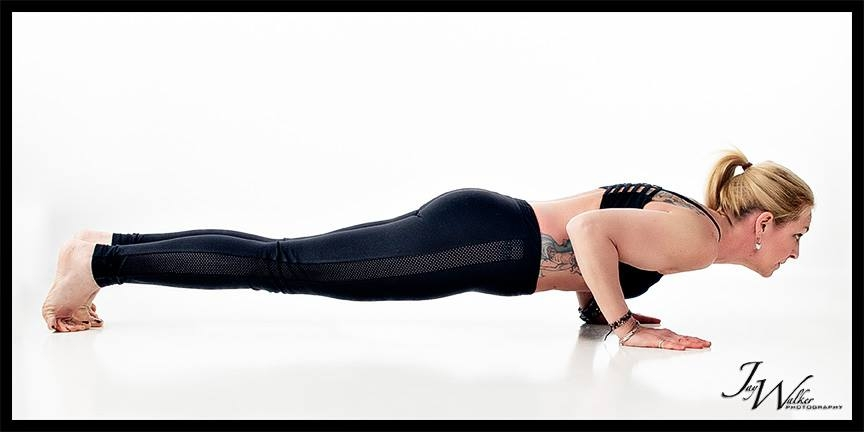 Chataranga: Shoulders engaged through back, chest, arms, with upper body weight