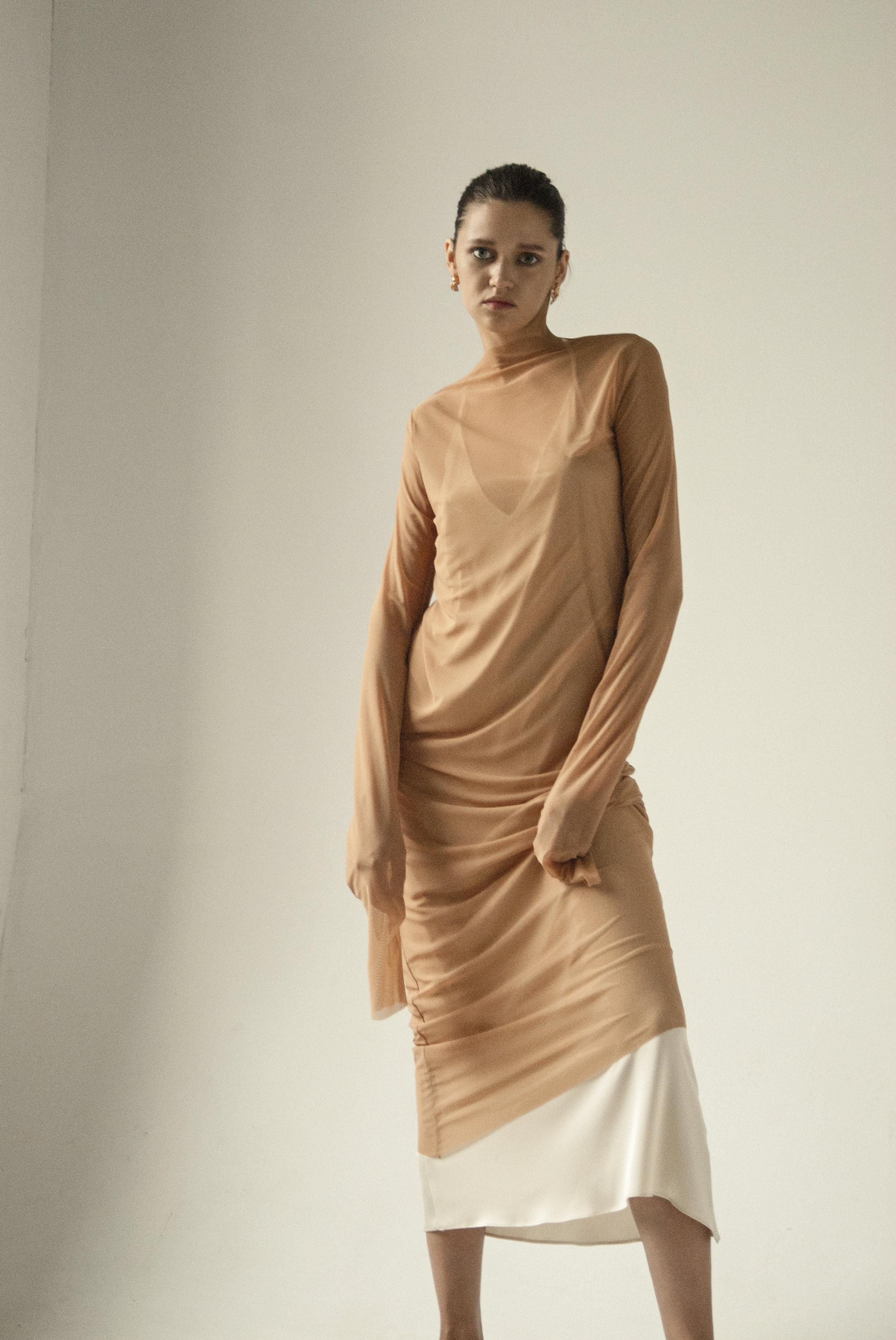 Km By Lange Nude Endless Sleeves Liquid Dress1