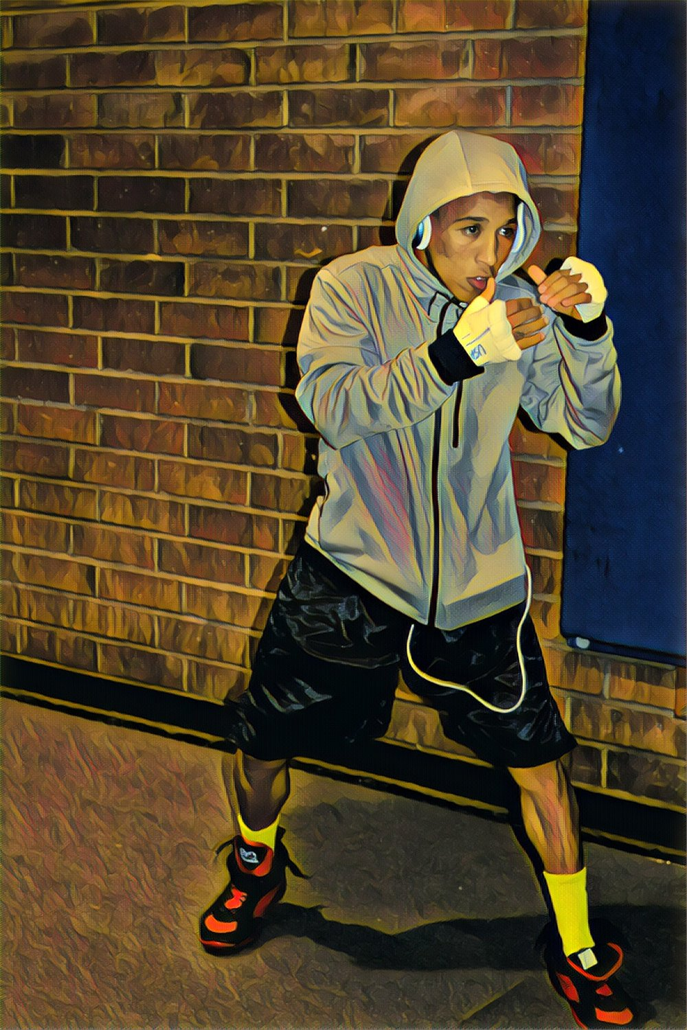 """""""Scrappy"""" the Champ, California Golden Gloves, 2018, with Prisma App Enhancement"""