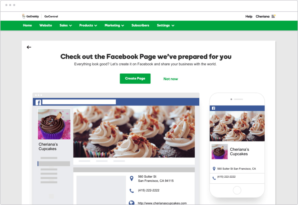 After connecting to Facebook, users will see this screen if no pages are linked to their account that closely match their business name.