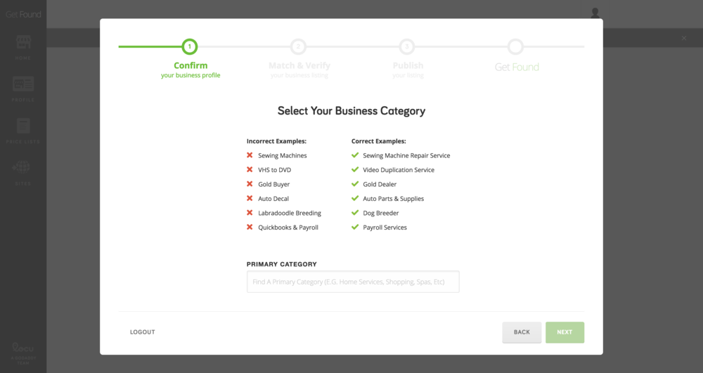 Get Found Onboarding - category type
