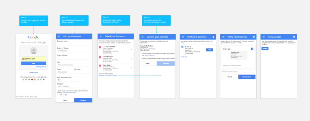 Google My Business Flow on Mobile