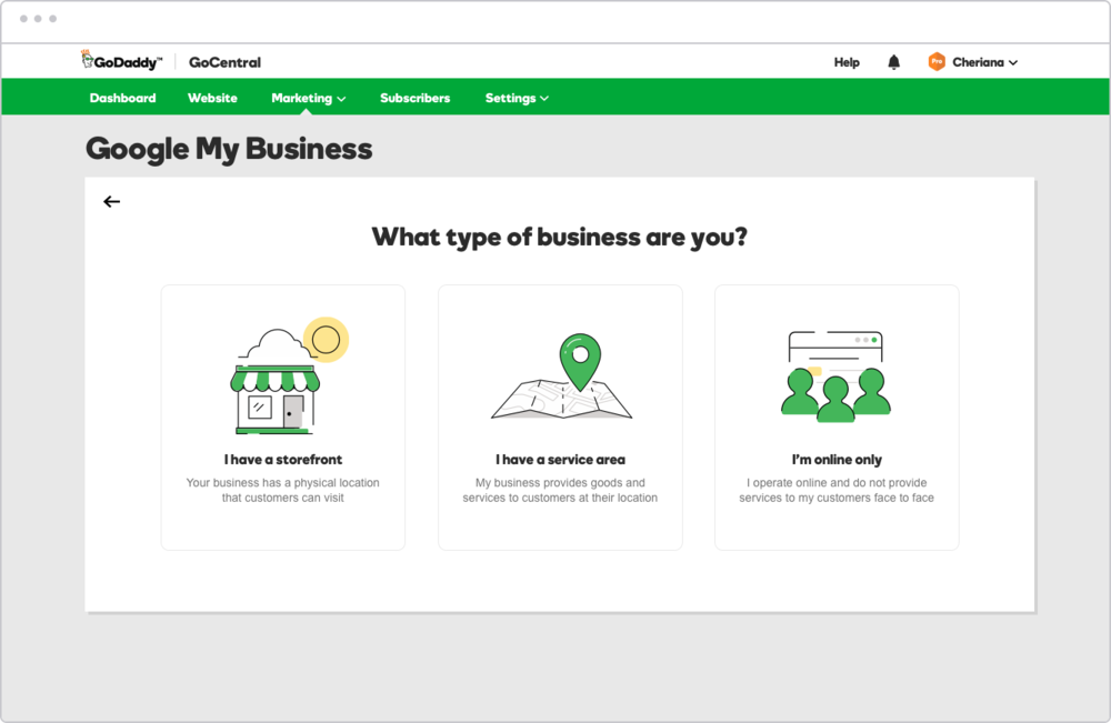 The business type selection screen was tested to validate our hypothesis that users would feel confident in selecting the appropriate type for their business