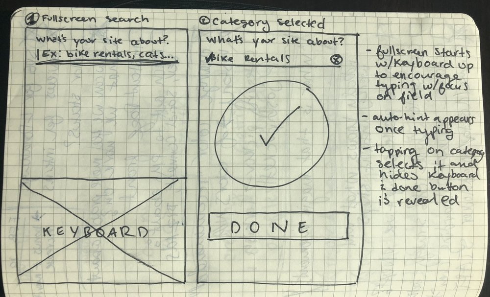 Early sketch looking into category picker in onboarding