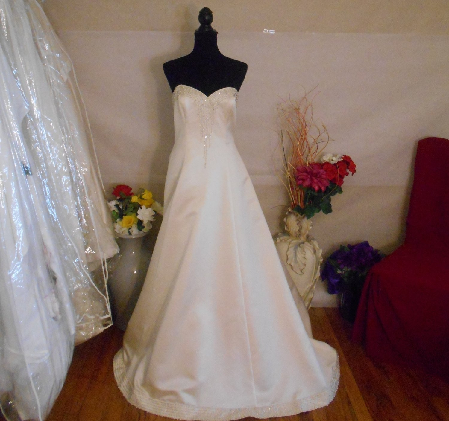 698332da550 Anjolique  Sweetheart Satin Sequined Bridal Gown w  Cathedral Train ...