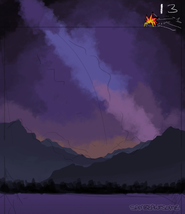 - Now I start filling in the sky, doing my best to work back to front. (As in, what is behind all the details I see in the reference? Build from the ground up.)I'm being messy with the colors since I'll blur it later. I mostly just want to make sure everything is in the right place.