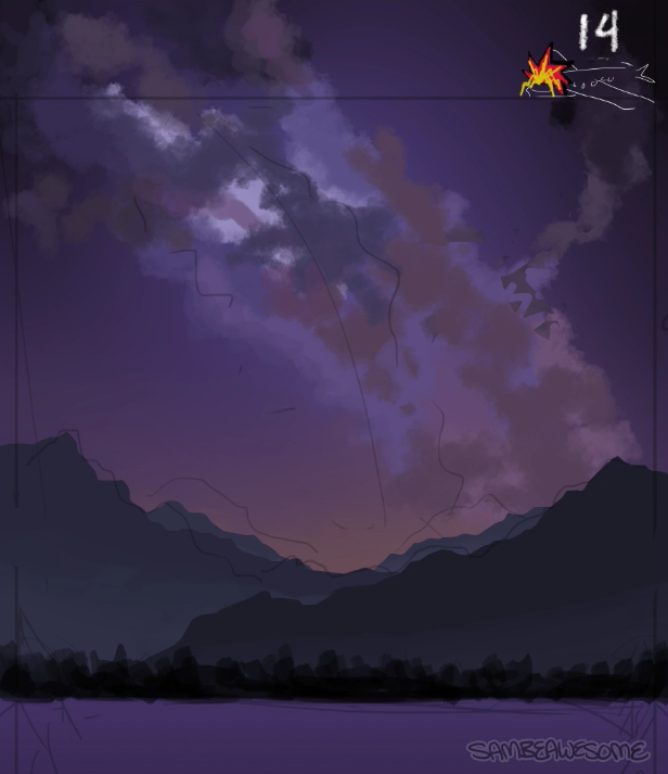 - Bit of a jump here, feel free to watch the video below to get more of an idea of what I'm doing. Basically I'm just doing my best to follow the reference, placing color best I can in the right spots, trying to add in some texture with a cloudy/messy brush. Since I'm working digitally, I can take advantages of layers, and add things behind what I've done if necessary.