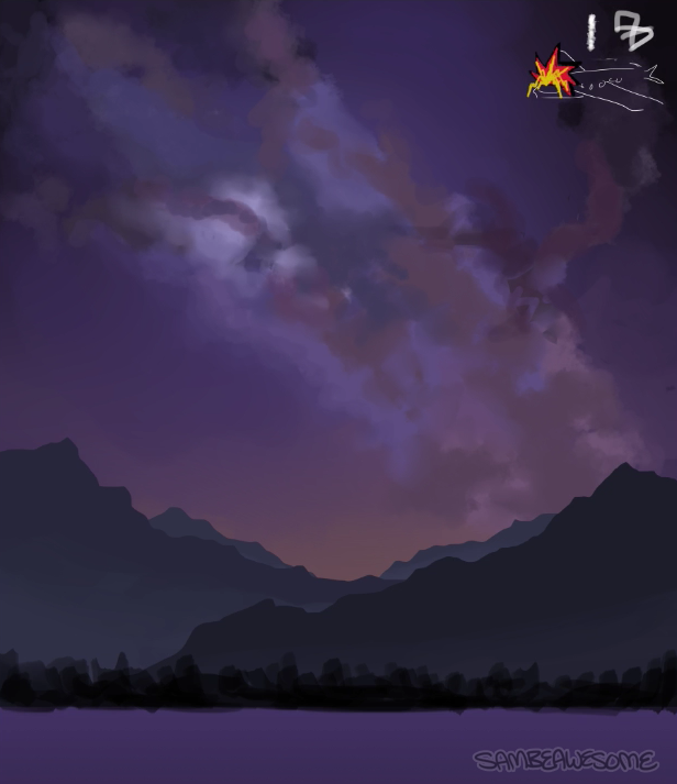 - Continuing on with the details. Adding more clouds, blending, etc. A lot of the styles and methods were either made up on the spot, or just reworking my usual methods to try and make this work. Again, this is a first for me, so it's a lot of trial and error.