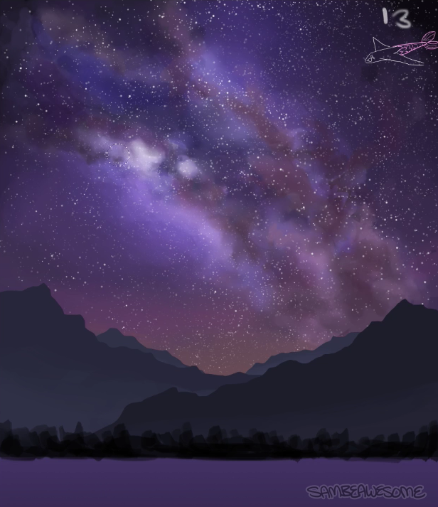 Bit of a jump here, but I already have a tutorial on how to do stars  here ! It's the same exact method, minus the final blur/glow step. Only difference is I duplicated and shrank some down to add more variety and fill in more space. I also used a layer mask to vary up the brightness and to help add a bit of depth. (Not all stars shine as brightly as another. Having variety makes it more realistic!)