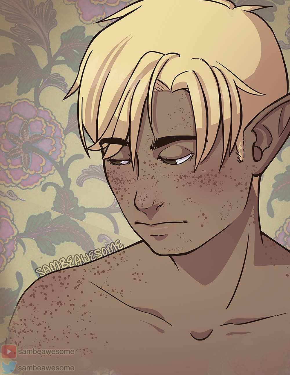 - The freckles on his skin! Not only is it great for skin texture, especially on realistic pieces, but it works great for adding in lots of cute freckles! (You can see it in action in the recording of this artwork!)