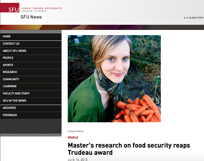 2015 interview with Carol Thorbes at SFU News on research with migrant farm workers and Trudeau Scholarship.