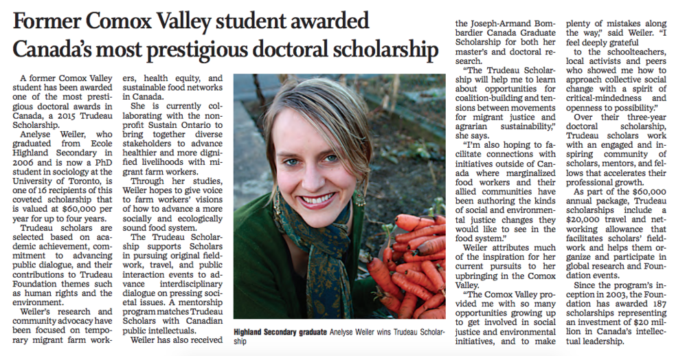 Quote in 2015 Comox Valley Record on Trudeau Scholarship.
