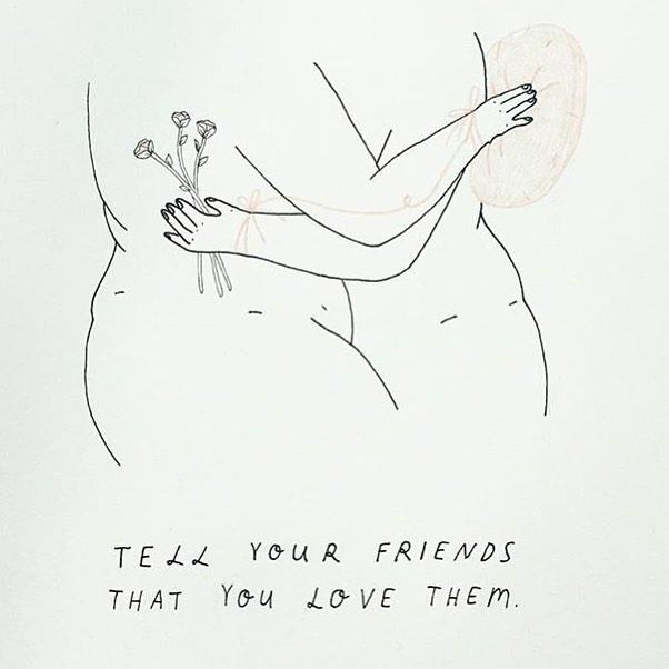 Lizzi Morris | @lizzi.morris _ —— #womenwithpencils #lizzimorris #illustration #illustrationoftheday #illustratorsoninstagram #art #artistsoninstagram  #drawing #painting  #visiblewomen #womenartists #sketch #love #friendship #friends #bekind