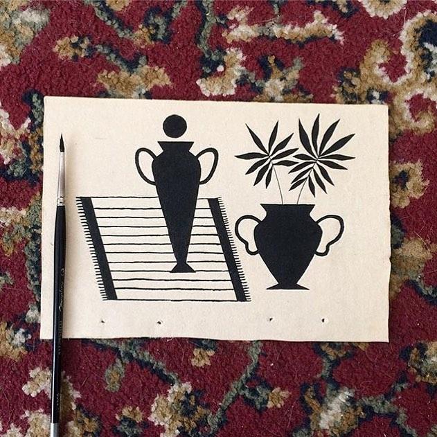 Emma Kahlhoven   @emma.kahlhoven —— #womenwithpencils #emmakahlhoven #illustration #illustrationoftheday #illustratorsoninstagram #art #artistsoninstagram  #drawing #painting  #visiblewomen #womenartists #ink #plants