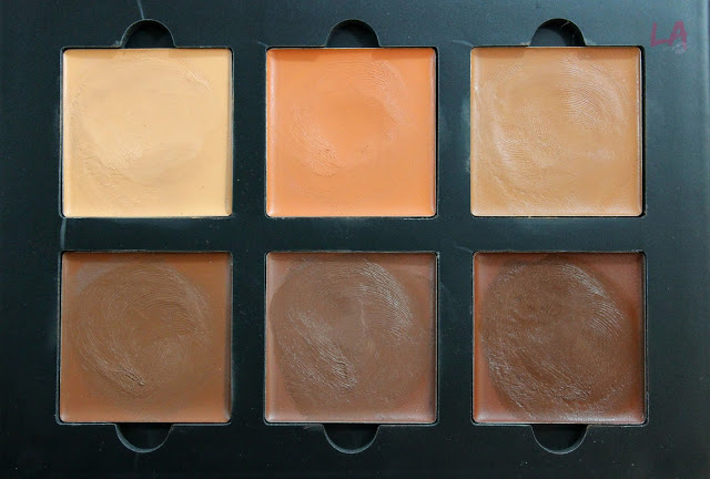 Shades from left to right:  Nude, Coral, Cinnamon, Chocolate, Espresso and Carob