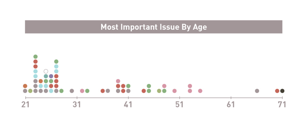People ages 21–71 filled out the survey. The colorful dots correspond with the issue icons above.