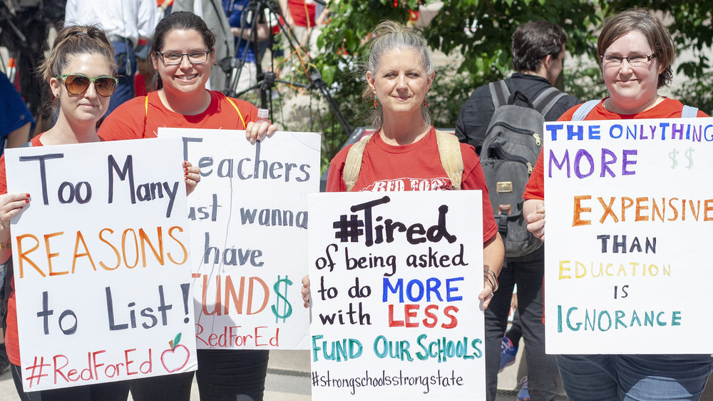 A group of North Carolina educators at the Rally for Respect in support of increased public school funding.
