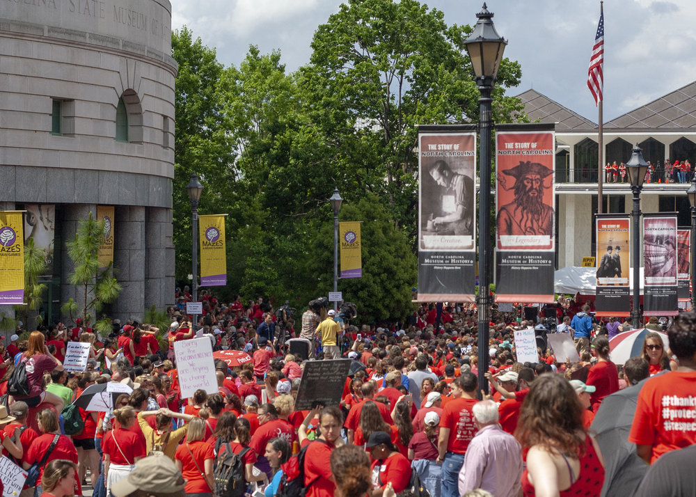 A large crowd assembled at Bicentennial Plaza in Raleigh for the Rally for Respect on May 16.