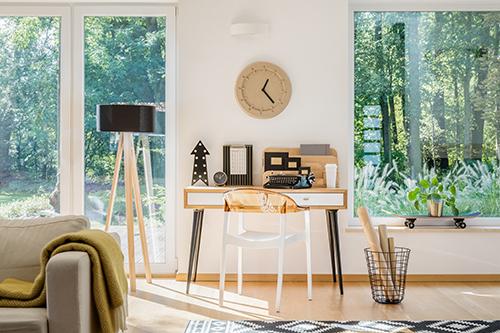 Modern workspace near window