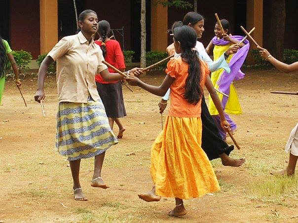 Dandiya dancing time with the students!