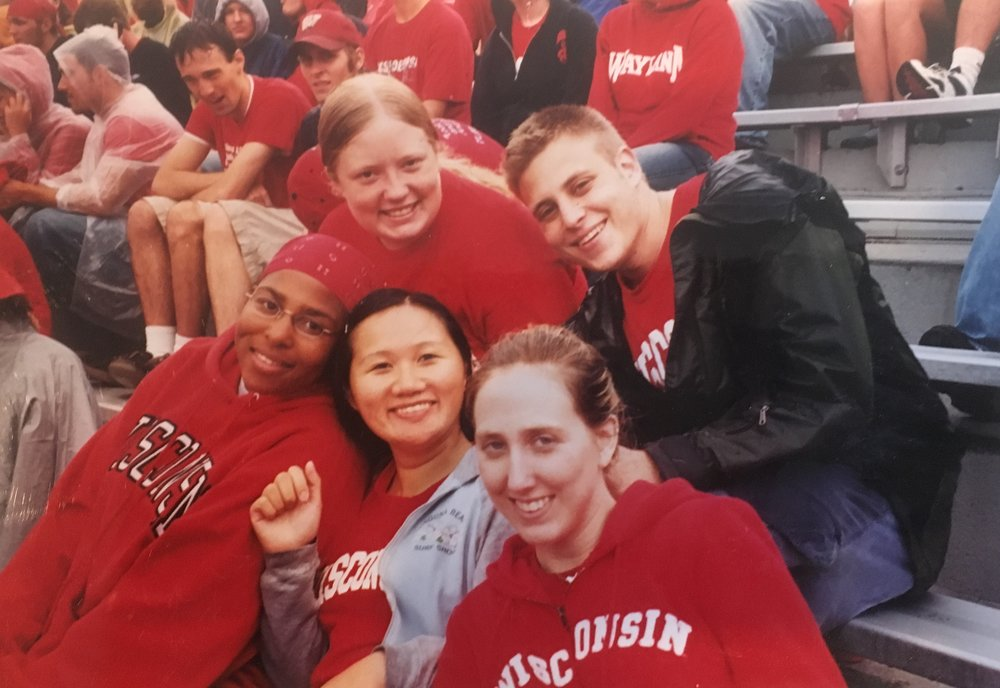 Nancy with college friends at a football game. University of Wisconsin-Madison