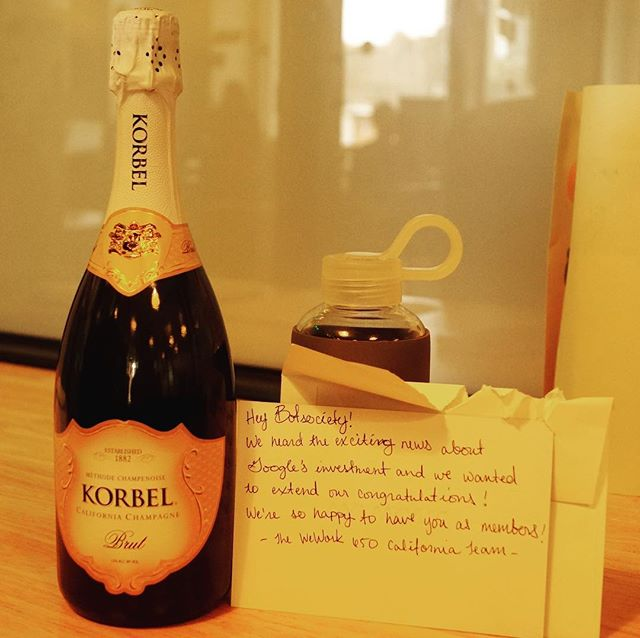 51018 - WeWork sent us a bottle of champagne to celebrate the Google investment.