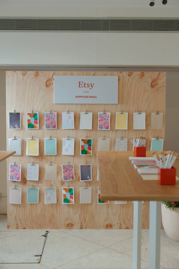 Etsy Craft Party supply wall
