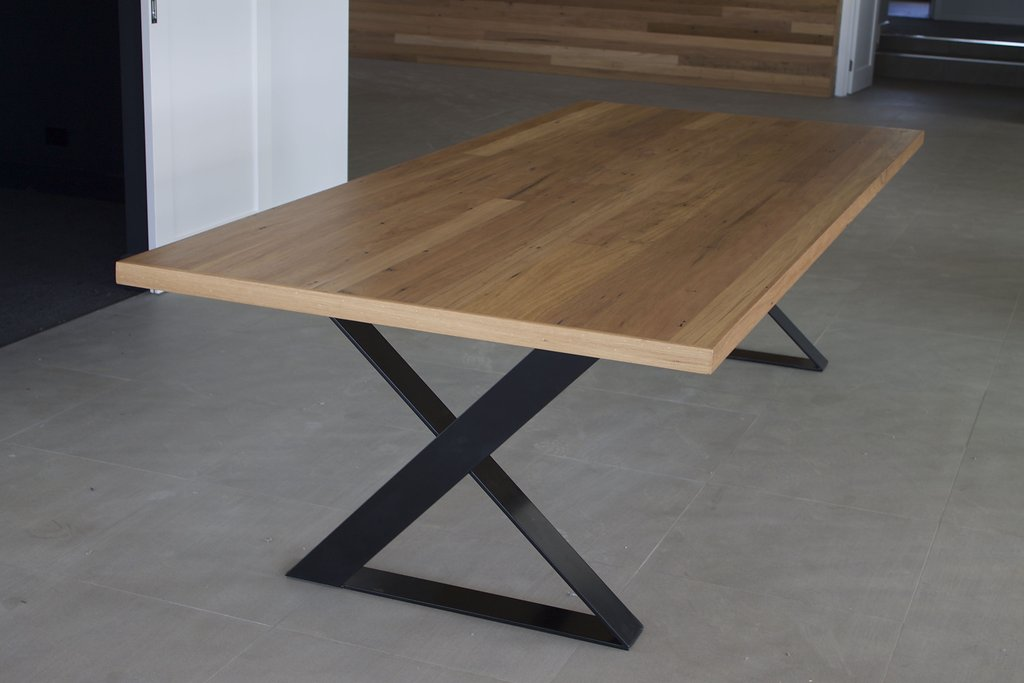recycled flooring table with black steel base