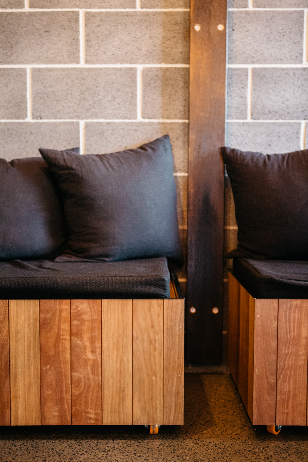 Banquette seating at Kin Cafe (Spotted gum)