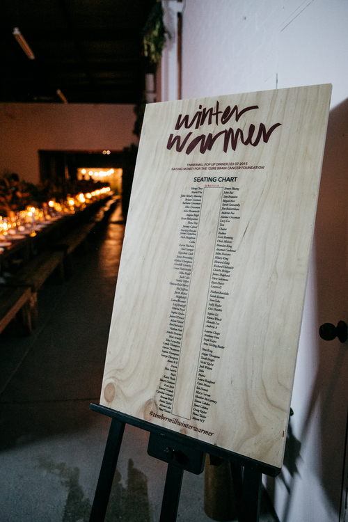 Seating Chart from Winter Warmer